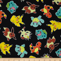 Poke'mon Tossed Jet Fabric