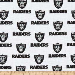 NFL Cotton Broadcloth Oakland Raiders Black/White Fabric