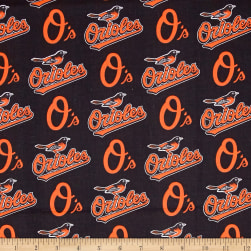 MLB Cotton Broadcloth Baltimore Orioles Black/Orange Fabric