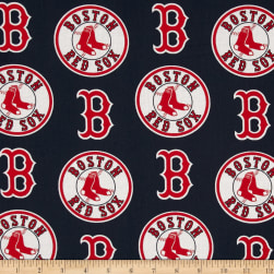 MLB Cotton Broadcloth Boston Red Sox Red/Navy Fabric