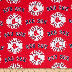 MLB Cotton Broadcloth Boston Red Sox Red/Blue Fabric