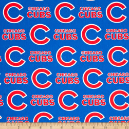 MLB Cotton Broadcloth Chicago Cubs Blue/Red Fabric