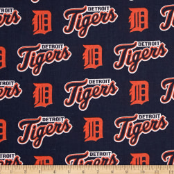 MLB Cotton Broadcloth Detroit Tigers Orange/Navy Fabric