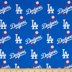 MLB Cotton Broadcloth Los Angeles Dodgers Blue/White Fabric