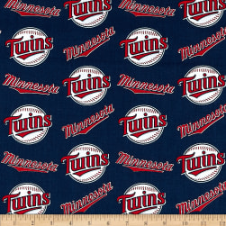 MLB Cotton Broadcloth Minnesota Twins Red/White Fabric