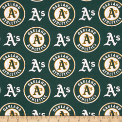 MLB Cotton Broadcloth Oakland Athletics Green/White Fabric