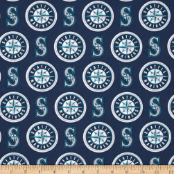 MLB Cotton Broadcloth Seattle Mariners Blue/White Fabric