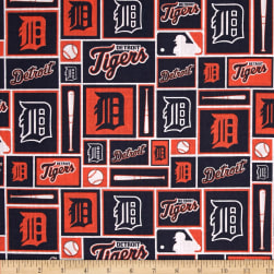 MLB Cotton Broadcloth Detroit Tigers Navy/Orange Fabric