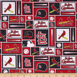 MLB Cotton Broadcloth St. Louis Cardinals Black/Red Fabric