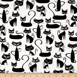 Kaufman Whiskers & Tails Cats Allover White Fabric
