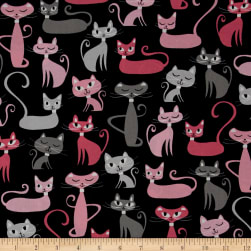 Kaufman Whiskers & Tails Cats Allover Black Fabric