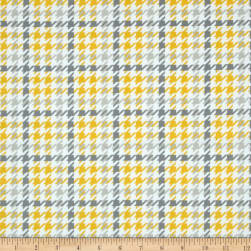 Kaufman Cozy Cotton Flannel Houndstooth Yellow Fabric