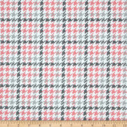 Kaufman Cozy Cotton Flannel Houndstooth Bubblegum Fabric