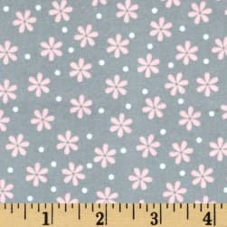 Kaufman Cozy Cotton Flannel Daisy Grey Fabric