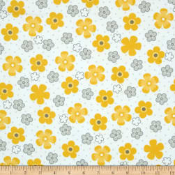 Kaufman Cozy Cotton Flannel Daisy Flower Yellow Fabric