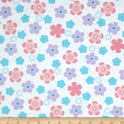 Kaufman Cozy Cotton Flannel Daisy Flower Pastel Fabric