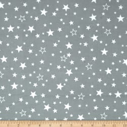 Kaufman Cozy Cotton Flannel Stars Grey Fabric