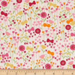 Kaufman London Calling Lawn Flower Buds Sorbet Fabric
