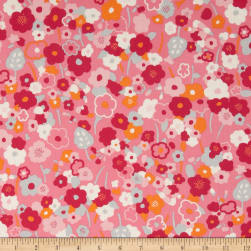 Kaufman London Calling Lawn Flower Stem Pink Fabric