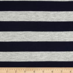 Stretch Rayon Jersey Knit Large Stripe Navy/Heather Grey