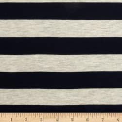 Stretch Rayon Jersey Knit Large Stripe Navy/Oatmeal