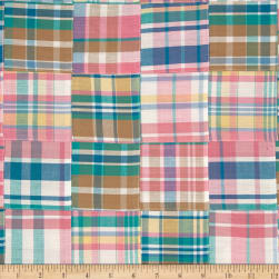 Kaufman Nantucket Patchwork Plaid Sorbet Fabric
