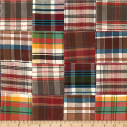 Kaufman Nantucket Patchwork Plaid Redwood