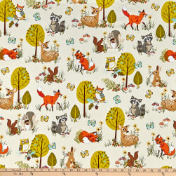 Kaufman Forest Fellow Racoons Nature Fabric