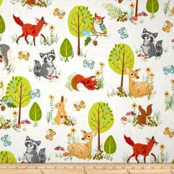 Kaufman Forest Fellow Racoons Wild Fabric