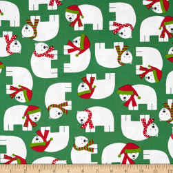 Kaufman Jingle Polar Bears Green Fabric