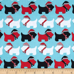 Kaufman Jingle Scottie Dogs Aqua