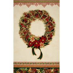 Kaufman Holiday Flourish Metallic 24 In. Wreath Panel Holiday