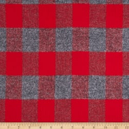 Kaufman Mammoth Flannel Plaid Red Fabric