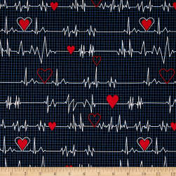 Calling All Nurses Heart Beat Black Fabric