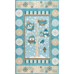 Wise One Flannel Owl 25 In. Panel Blue Fabric