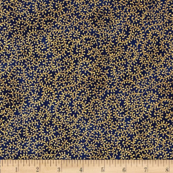 Royal Peacock Metallic Filigree Vine Royal/Gold Fabric