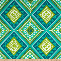 Terrasol Indoor/Outdoor Spanish Tile Peacock Fabric