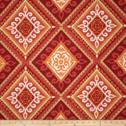 Terrasol Indoor/Outdoor Spanish Tile Coral Fabric