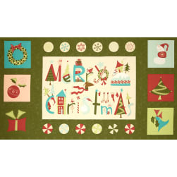 Moda Very Merry 24 In. Panel Pine Fabric