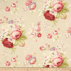 Waverly Sanctuary Rose Linen Fabric