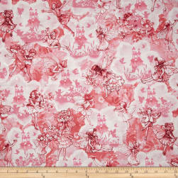 Michael Miller Flower Fairies Dreamland Metallic Pink Fabric