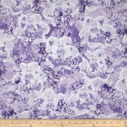 Michael Miller Flower Fairies Dreamland Metallic Lilac Fabric