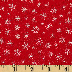 Let It Snow Glitter Snowflake Tonal Red Fabric