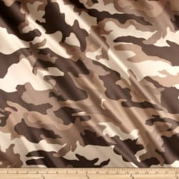 Charmuese Satin Camouflage Brown Fabric