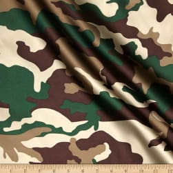 Charmuese Satin Camouflage Green Fabric