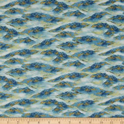 Whitetail Ridge Mountains Blue Fabric