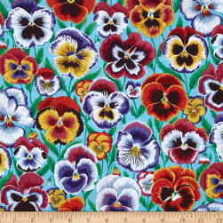Kaffe Fassett Pansies Aqua Fabric