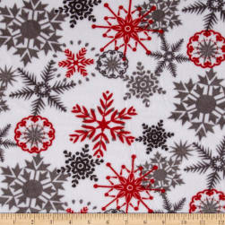 Shannon Kaufman Minky Cuddle Ice Crystals Scarlet Fabric