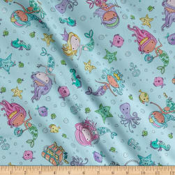 Timeless Treasures Mermaids Glitter Aqua Fabric