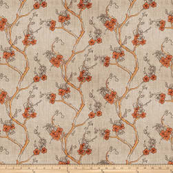 Fabricut Embroidered Linen Nikara Floral Terra Cotta Fabric